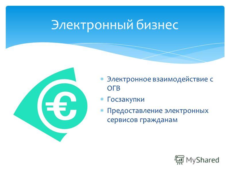 Электронный бизнес Электронное взаимодействие с ОГВ Госзакупки Предоставление электронных сервисов гражданам