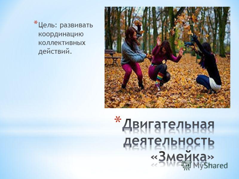 * Цель: развивать координацию коллективных действий.