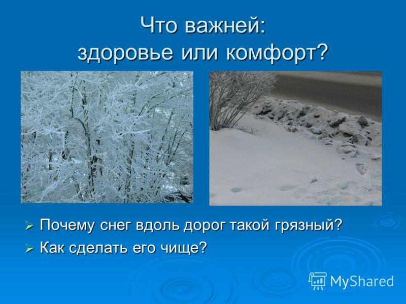 Что важней: здоровье или комфорт? Почему снег вдоль дорог такой грязный? Почему снег вдоль дорог такой грязный? Как сделать его чище? Как сделать его чище?
