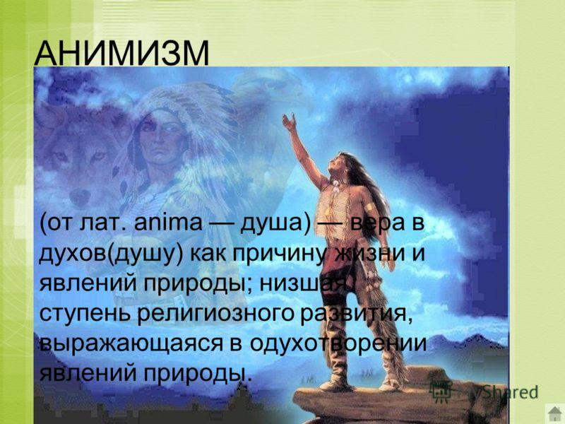 АНИМИЗМ (от лат. anima душа) вера в духов(душу) как причину жизни и явлений природы; низшая ступень религиозного развития, выражающаяся в одухотворении явлений природы.