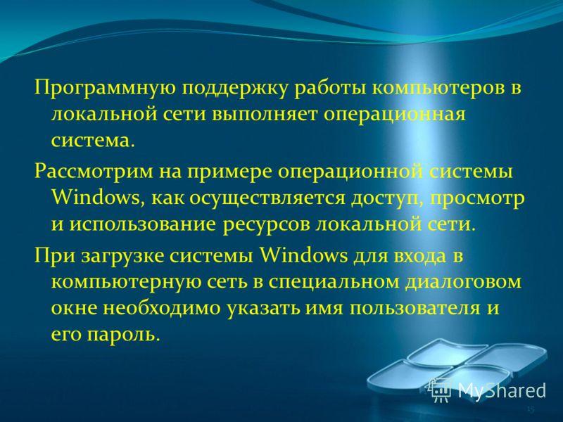 Программную поддержку работы компьютеров в локальной сети выполняет операционная система. Рассмотрим на примере операционной системы Windows, как осуществляется доступ, просмотр и использование ресурсов локальной сети. При загрузке системы Windows дл