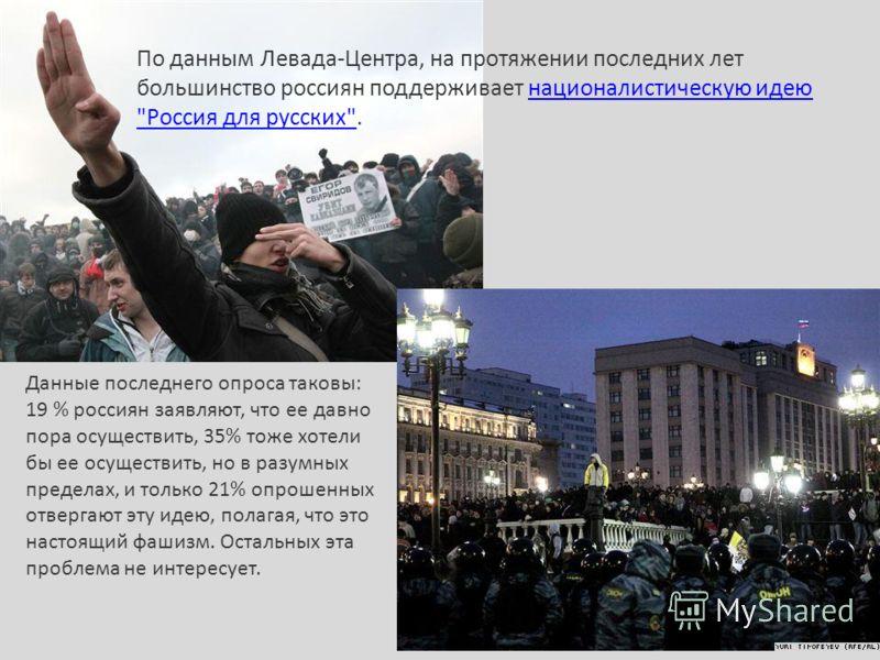 По данным Левада-Центра, на протяжении последних лет большинство россиян поддерживает националистическую идею