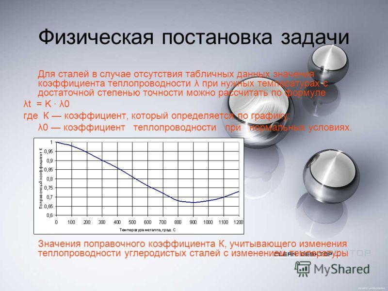 Физическая постановка задачи Для сталей в случае отсутствия табличных данных значения коэффициента теплопроводности λ при нужных температурах с достаточной степенью точности можно рассчитать по формуле λt = K · λ0 где К коэффициент, который определяе