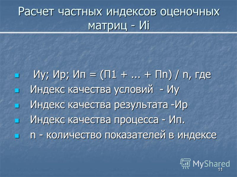 11 Расчет частных индексов оценочных матриц - Иi Иу; Ир; Ип = (П1 +... + Пn) / n, где Иу; Ир; Ип = (П1 +... + Пn) / n, где Индекс качества условий - Иу Индекс качества условий - Иу Индекс качества результата -Ир Индекс качества результата -Ир Индекс