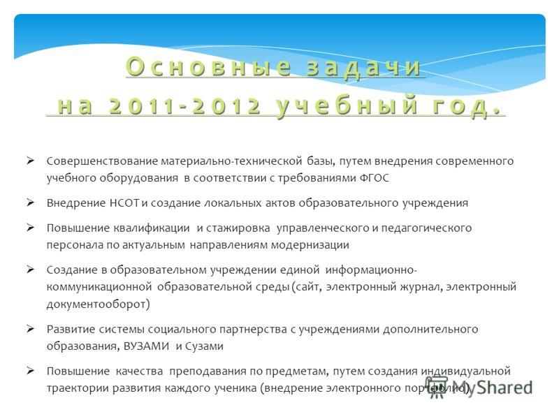 Основные задачи на 2011-2012 учебный год. Совершенствование материально-технической базы, путем внедрения современного учебного оборудования в соответствии с требованиями ФГОС Внедрение НСОТ и создание локальных актов образовательного учреждения Повы
