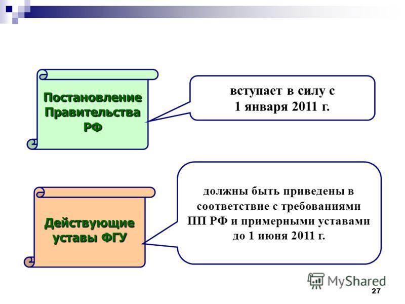 27 ПостановлениеПравительстваРФ Действующие уставы ФГУ вступает в силу с 1 января 2011 г. должны быть приведены в соответствие с требованиями ПП РФ и примерными уставами до 1 июня 2011 г.