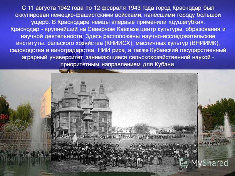 С 11 августа 1942 года по 12 февраля 1943 года город Краснодар был оккупирован немецко-фашистскими войсками, нанёсшими городу большой ущерб. В Краснодаре немцы впервые применили «душегубки». Краснодар - крупнейший на Северном Кавказе центр культуры,