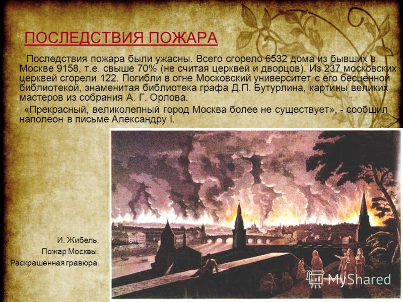 ПОСЛЕДСТВИЯ ПОЖАРА Последствия пожара были ужасны. Всего сгорело 6532 дома из бывших в Москве 9158, т.е. свыше 70% (не считая церквей и дворцов). Из 237 московских церквей сгорели 122. Погибли в огне Московский университет с его бесценной библиотекой