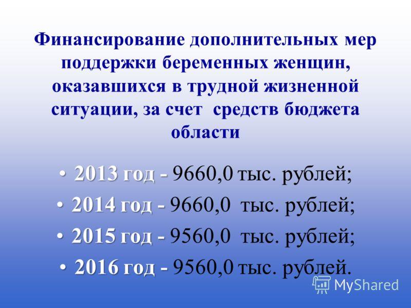 Финансирование дополнительных мер поддержки беременных женщин, оказавшихся в трудной жизненной ситуации, за счет средств бюджета области 2013 год -2013 год - 9660,0 тыс. рублей; 2014 год -2014 год - 9660,0 тыс. рублей; 2015 год -2015 год - 9560,0 тыс