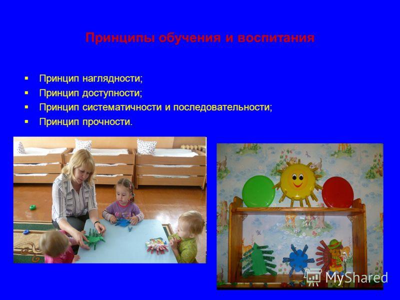 Принципы обучения и воспитания Принцип наглядности; Принцип доступности; Принцип систематичности и последовательности; Принцип прочности.