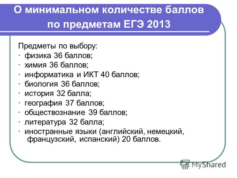 О минимальном количестве баллов по предметам ЕГЭ 2013 Предметы по выбору: · физика 36 баллов; · химия 36 баллов; · информатика и ИКТ 40 баллов; · биология 36 баллов; · история 32 балла; · география 37 баллов; · обществознание 39 баллов; · литература