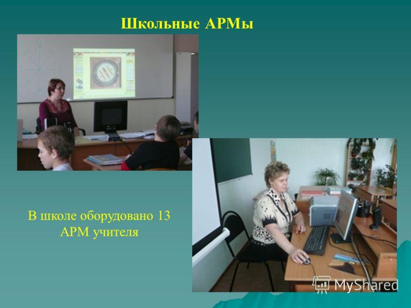 Школьные АРМы В школе оборудовано 13 АРМ учителя