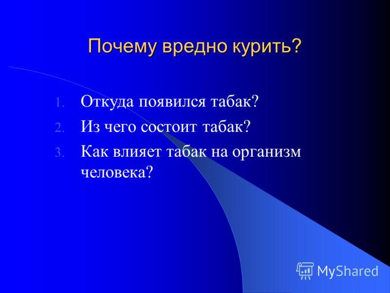 Почему вредно курить? 1. Откуда появился табак? 2. Из чего состоит табак? 3. Как влияет табак на организм человека?