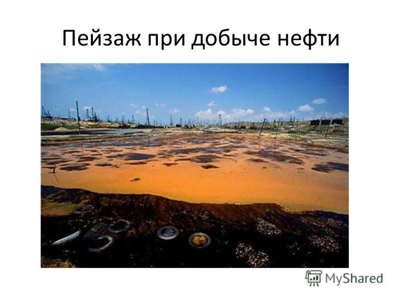 Пейзаж при добыче нефти