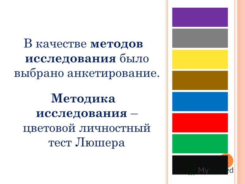 В качестве методов исследования было выбрано анкетирование. Методика исследования – цветовой личностный тест Люшера