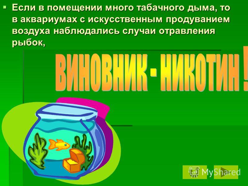 Если в помещении много табачного дыма, то в аквариумах с искусственным продуванием воздуха наблюдались случаи отравления рыбок, Если в помещении много табачного дыма, то в аквариумах с искусственным продуванием воздуха наблюдались случаи отравления р