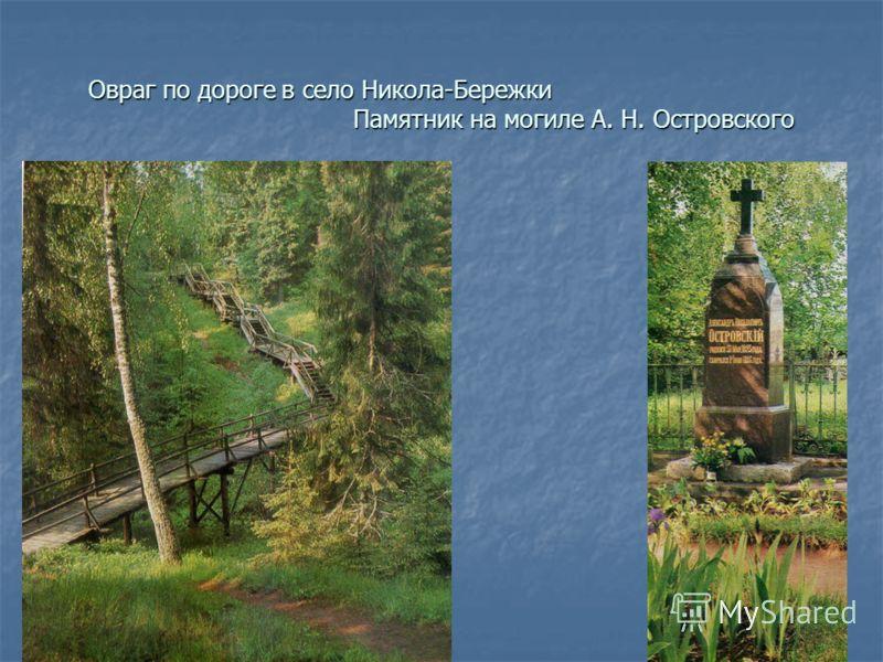 Овраг по дороге в село Никола-Бережки Памятник на могиле А. Н. Островского