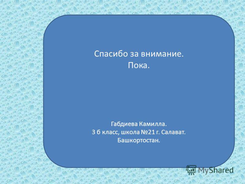 Спасибо за внимание. Пока. Габдиева Камилла. 3 б класс, школа 21 г. Салават. Башкортостан.