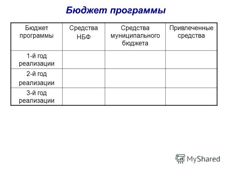 Бюджет программы Средства НБФ Средства муниципального бюджета Привлеченные средства 1-й год реализации 2-й год реализации 3-й год реализации