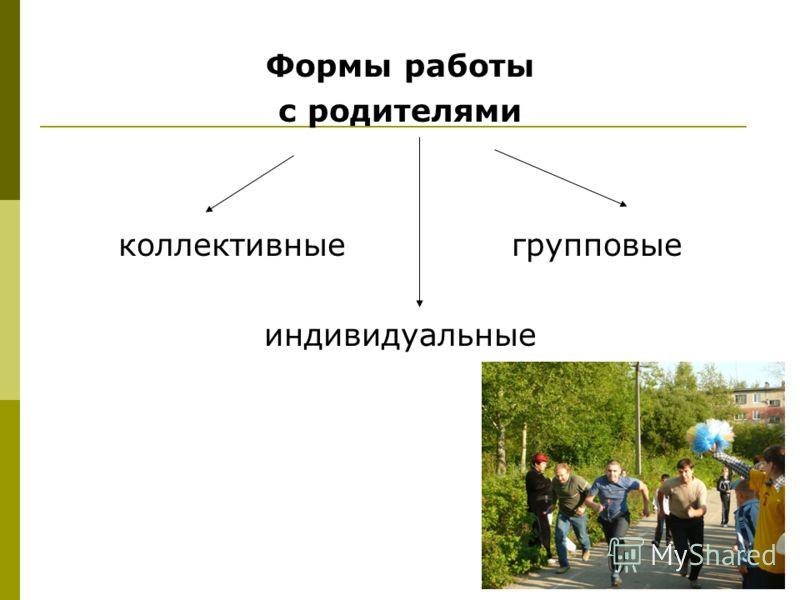 Формы работы с родителями коллективные групповые индивидуальные