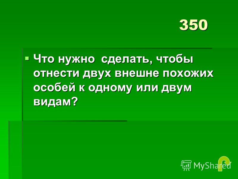 350 Что нужно сделать, чтобы отнести двух внешне похожих особей к одному или двум видам? Что нужно сделать, чтобы отнести двух внешне похожих особей к одному или двум видам?