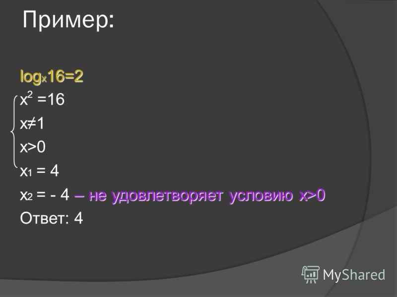 Пример: log x 16=2 x =16 х1 х>0х>0 х 1 = 4 – не удовлетворяет условию х>0 х 2 = - 4 – не удовлетворяет условию х>0 Ответ: 4 2