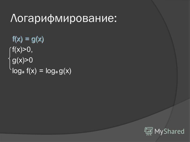 Логарифмирование: f(x) = g(x) f(x)>0, g(x)>0 log a f(x) = log a g(x)