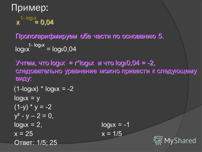 Пример: x = 0,04 Прологарифмируем обе части по основанию 5. log 5 x = log 5 0,04 Учтем, что log 5 x = r*log 5 x и что log 5 0,04 = -2, следовательно уравнение можно привести к следующему виду: (1-log 5 x) * log 5 x = -2 log 5 x = y (1-y) * y = -2 y²