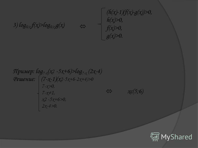 3) log h(x) f(x)>log h(x) g(x) (h(x)-1)(f(x)-g(x))>0, h(x)>0, f(x)>0, g(x)>0. Пример: log 7-x (x 2 -5x+6)>log 7-x (2x-4) Решение: (7-x-1)(x 2-5x+6-2x+4)>0 7-x>0, 7-x1, x2 -5x+6>0, 2x-4>0. xє(5;6)