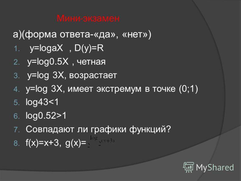 Мини-экзамен а)(форма ответа-«да», «нет») 1. y=logaX, D(y)=R 2. y=log0.5X, четная 3. y=log 3X, возрастает 4. y=log 3X, имеет экстремум в точке (0;1) 5. log431 7. Совпадают ли графики функций? 8. f(x)=x+3, g(x)=