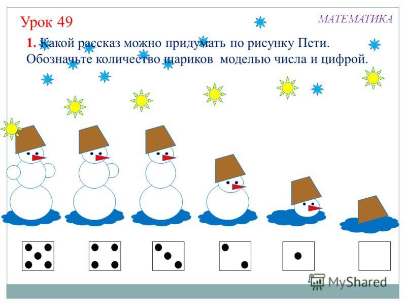 м Урок 49 МАТЕМАТИКА 1. Какой рассказ можно придумать по рисунку Пети. Обозначьте количество шариков моделью числа и цифрой.