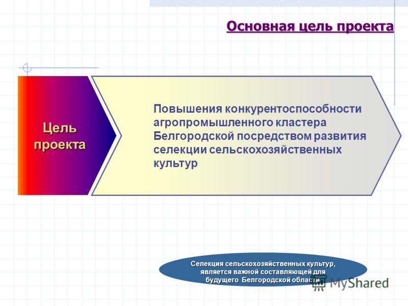 Основная цель проекта Цельпроекта Повышения конкурентоспособности агропромышленного кластера Белгородской посредством развития селекции сельскохозяйственных культур Селекция сельскохозяйственных культур, является важной составляющей для будущего Белг