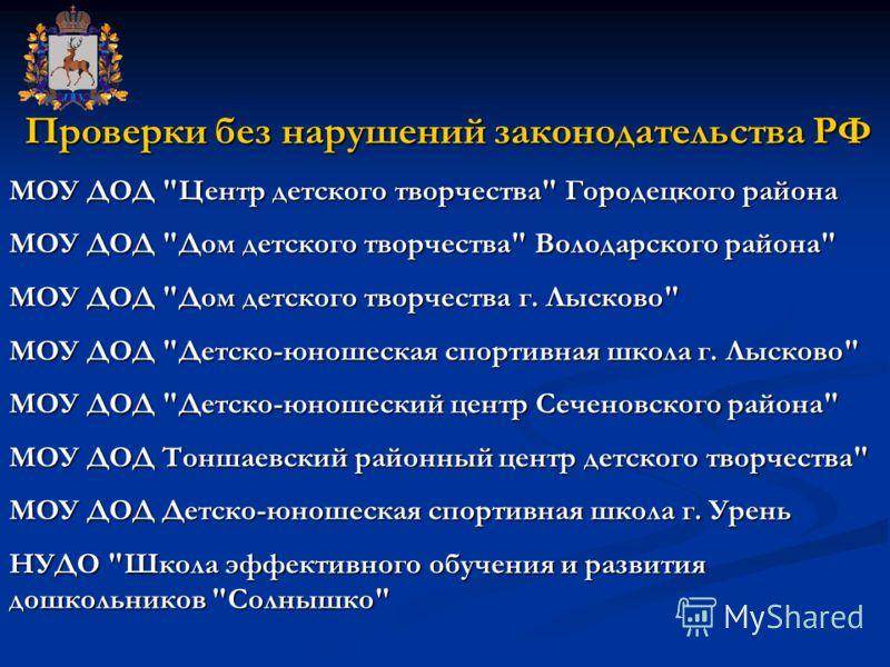 Проверки без нарушений законодательства РФ Проверки без нарушений законодательства РФ МОУ ДОД