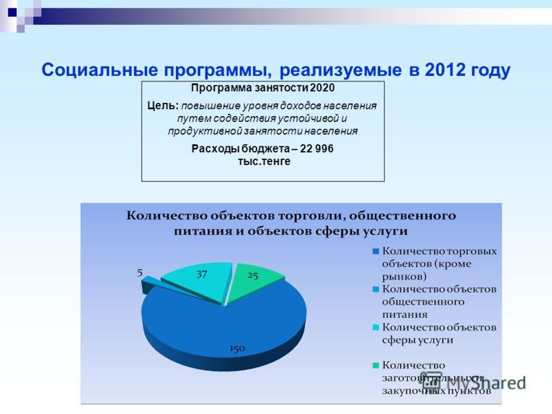 Социальные программы, реализуемые в 2012 году Программа занятости 2020 Цель: повышение уровня доходов населения путем содействия устойчивой и продуктивной занятости населения Расходы бюджета – 22 996 тыс.тенге