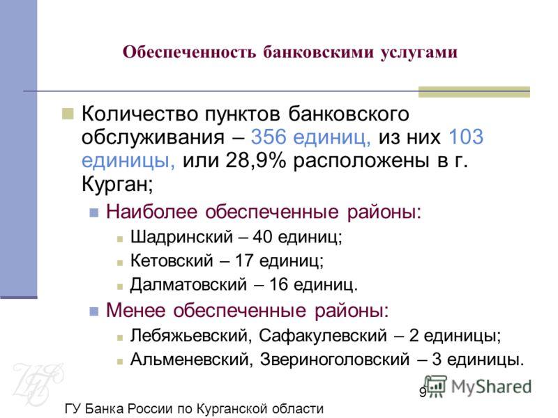 ГУ Банка России по Курганской области 9 Обеспеченность банковскими услугами Количество пунктов банковского обслуживания – 356 единиц, из них 103 единицы, или 28,9% расположены в г. Курган; Наиболее обеспеченные районы: Шадринский – 40 единиц; Кетовск