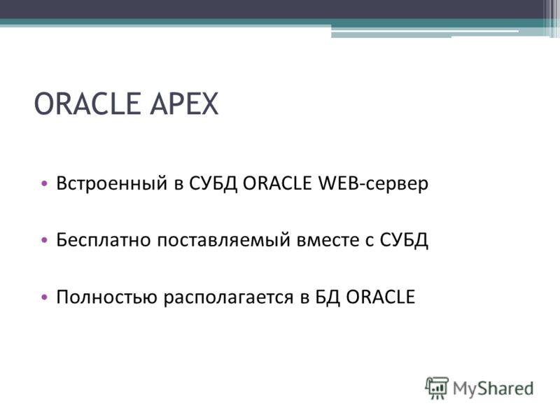 ORACLE APEX Встроенный в СУБД ORACLE WEB-сервер Бесплатно поставляемый вместе с СУБД Полностью располагается в БД ORACLE