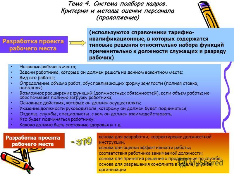 Тема 4. Система подбора кадров. Критерии и методы оценки персонала (продолжение) Разработка проекта рабочего места (используются справочники тарифно- квалификационные, в которых содержатся типовые решения относительно набора функций применительно к д