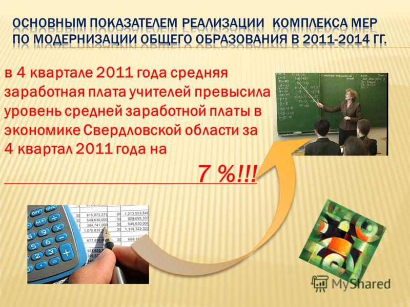 в 4 квартале 2011 года средняя заработная плата учителей превысила уровень средней заработной платы в экономике Свердловской области за 4 квартал 2011 года на 7 %!!!