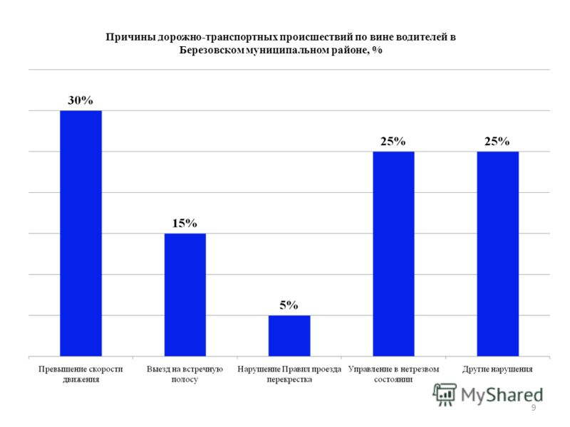 9 Причины дорожно-транспортных происшествий по вине водителей в Березовском муниципальном районе, %