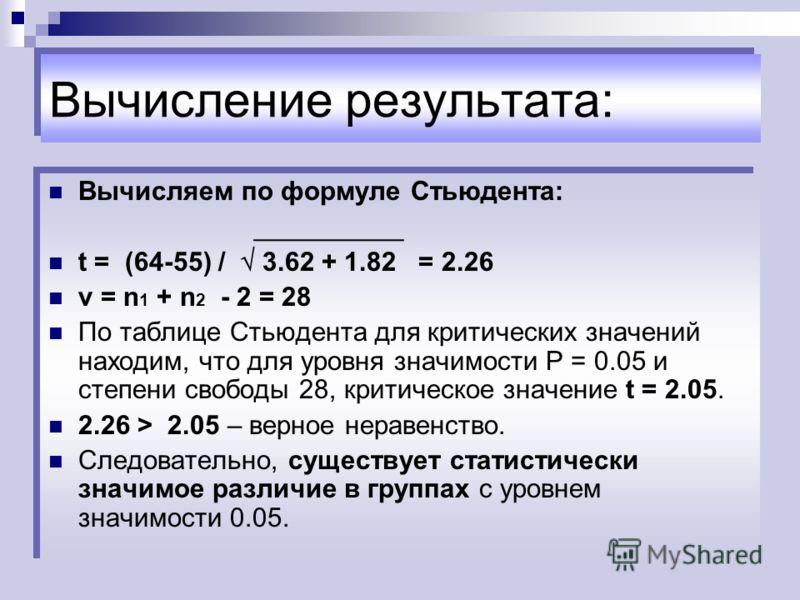 Вычисление результата: Вычисляем по формуле Стьюдента: __________ t = (64-55) / 3.62 + 1.82 = 2.26 ν = n 1 + n 2 - 2 = 28 По таблице Стьюдента для критических значений находим, что для уровня значимости P = 0.05 и степени свободы 28, критическое знач