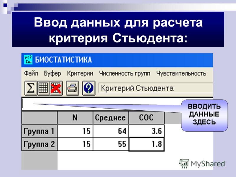 Ввод данных для расчета критерия Стьюдента: ВВОДИТЬ ДАННЫЕ ЗДЕСЬ