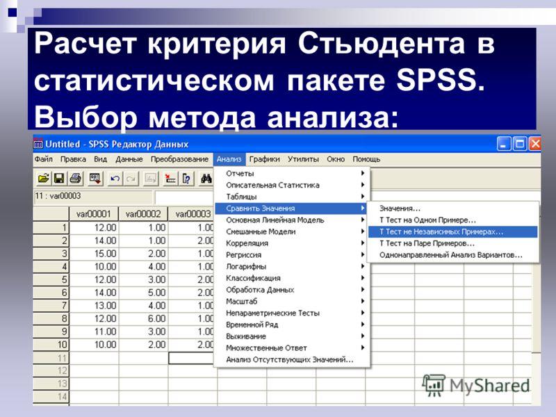 Расчет критерия Стьюдента в статистическом пакете SPSS. Выбор метода анализа: