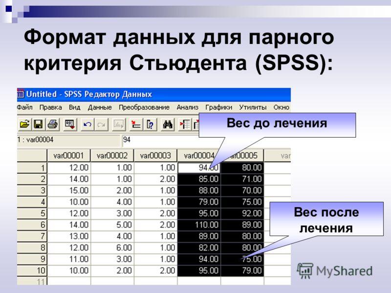 Формат данных для парного критерия Стьюдента (SPSS): Вес до лечения Вес после лечения
