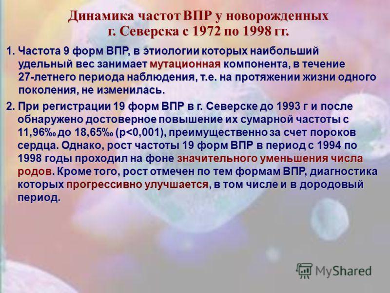 Частота всех форм ВПР у новорожденных в г. Северска, Томска в сравнении с некоторыми городскими популяциями России (1:1000 новорожденных)
