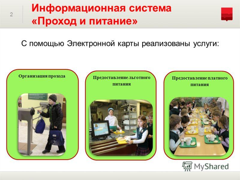 2 Информационная система «Проход и питание» С помощью Электронной карты реализованы услуги: Предоставление платного питания Организация прохода Предоставление льготного питания