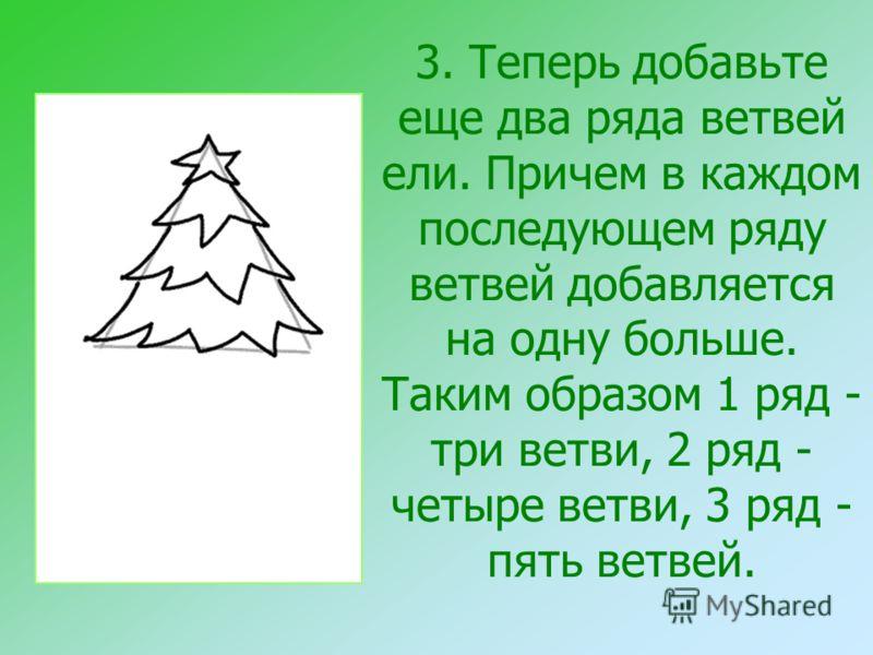 3. Теперь добавьте еще два ряда ветвей ели. Причем в каждом последующем ряду ветвей добавляется на одну больше. Таким образом 1 ряд - три ветви, 2 ряд - четыре ветви, 3 ряд - пять ветвей.