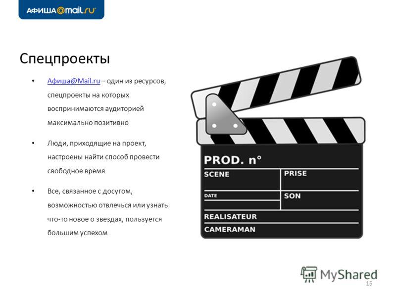Спецпроекты Афиша@Mail.ru – один из ресурсов, спецпроекты на которых воспринимаются аудиторией максимально позитивно Афиша@Mail.ru Люди, приходящие на проект, настроены найти способ провести свободное время Все, связанное с досугом, возможностью отвл