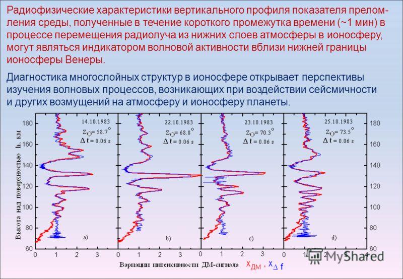 Радиофизические характеристики вертикального профиля показателя прелом- ления среды, полученные в течение короткого промежутка времени (~1 мин) в процессе перемещения радиолуча из нижних слоев атмосферы в ионосферу, могут являться индикатором волново