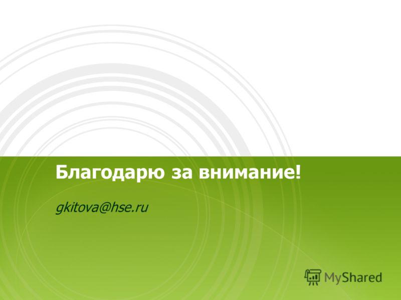 Благодарю за внимание! gkitova@hse.ru
