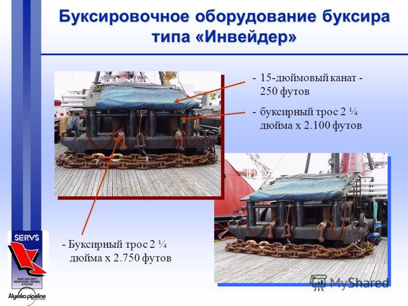 Буксировочное оборудование буксира типа «Инвейдер» -15-дюймовый канат - 250 футов -буксирный трос 2 ¼ дюйма x 2.100 футов - Буксирный трос 2 ¼ дюйма x 2.750 футов